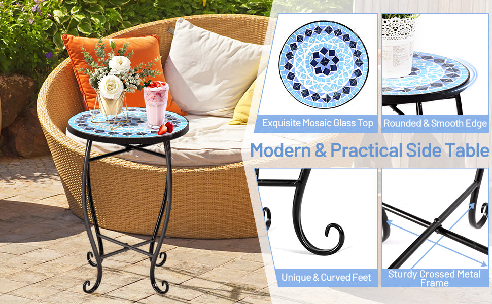 Outdoor Indoor Steel Round Accent Table Mosaic Plant Stand Cobalt Table