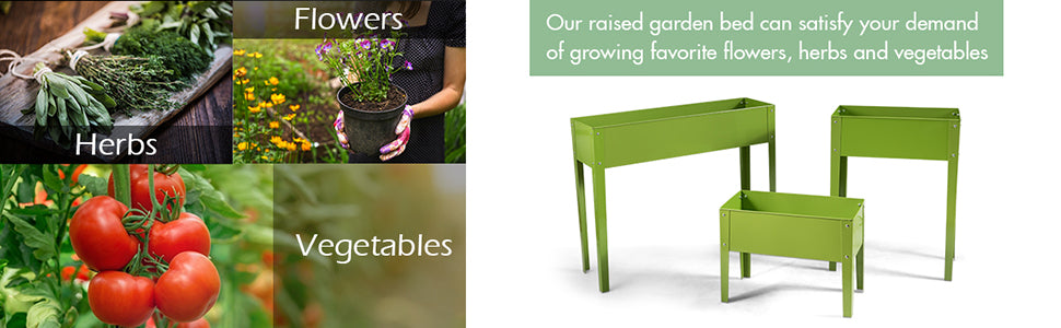 """24.5"""" L x 12.5"""" W x 31.5"""" H Outdoor Metal Raised Garden Bed Elevated Planter Box"""