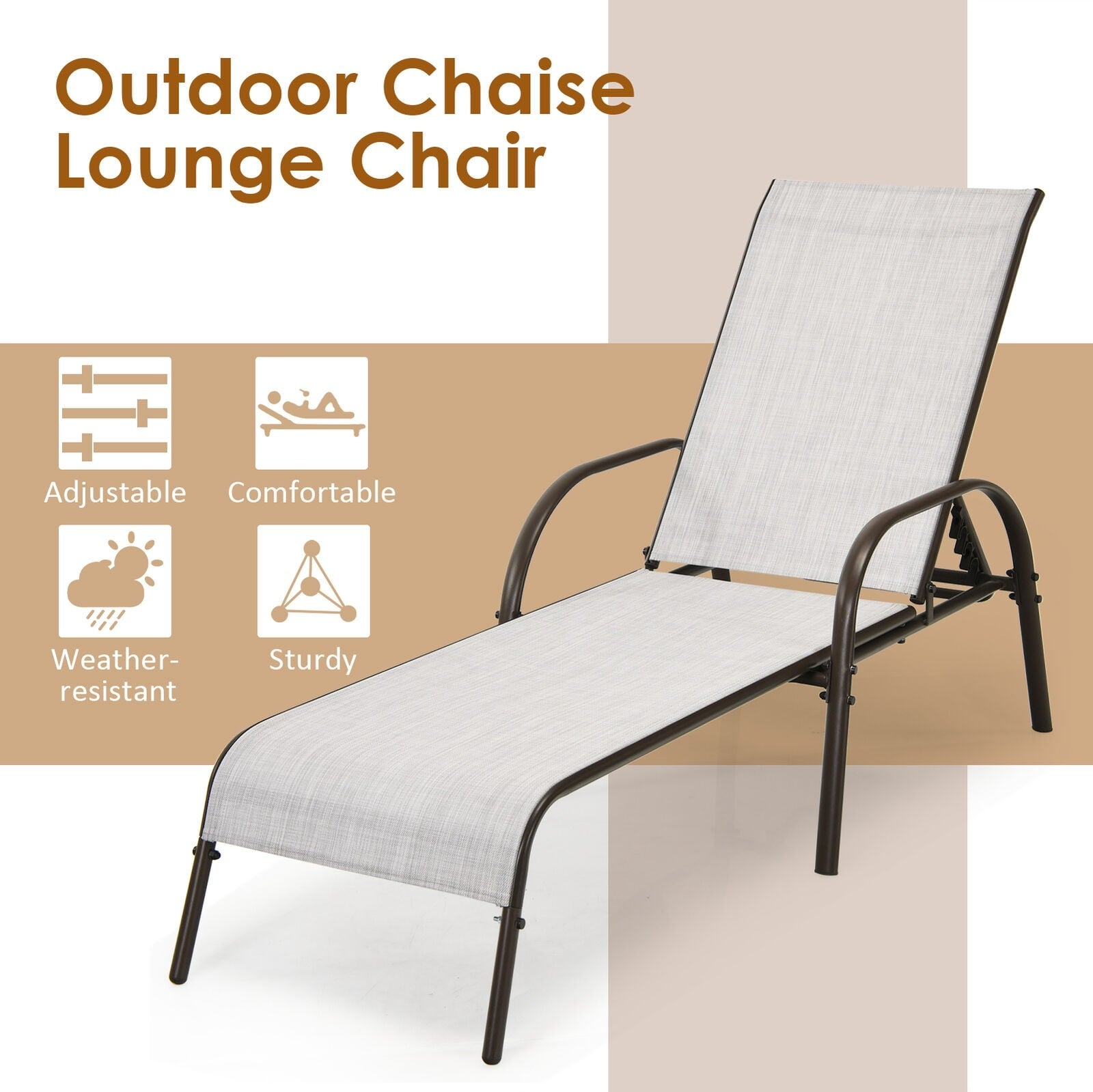 Outdoor Patio Recliner Chair Folding Chaise Lounge with Adjustable Backrest