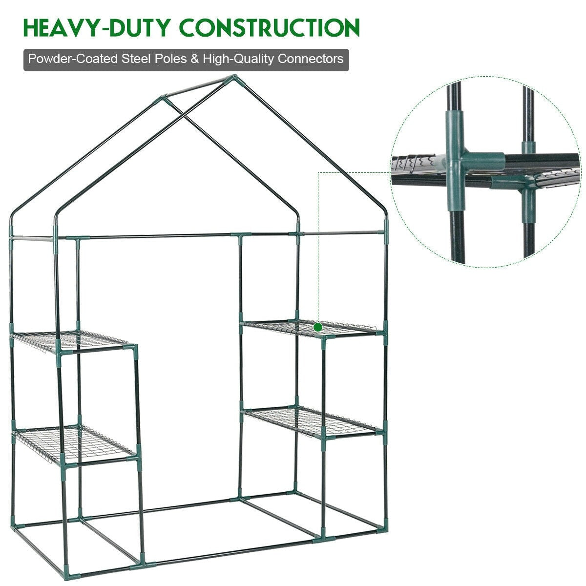 Outdoor Portable 4 Shelves Walk-in Greenhouse