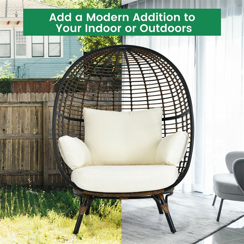 Oversized Outdoor Patio Rattan Egg Lounge Chair with 4 Cushions