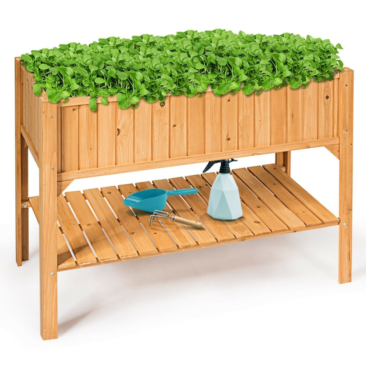 Raised Garden Bed Stand Elevated Wood Planter Box Shelf