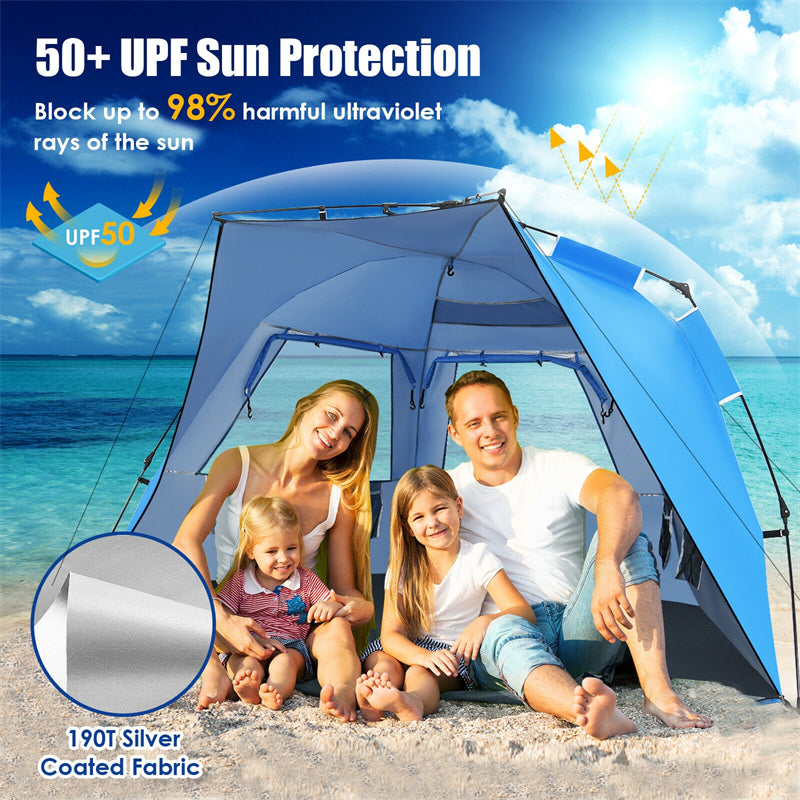 UPF 50+ Easy Pop Up Beach Tent Portable Sun Shelter for 3-4 Person