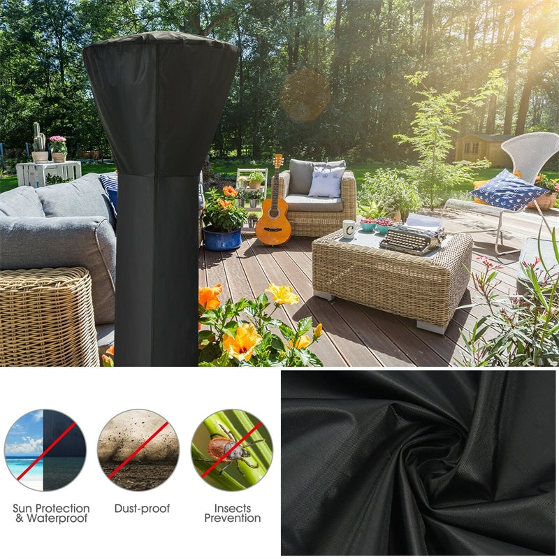 Waterproof Standing Patio Heater Cover with Zipper and Storage Bag