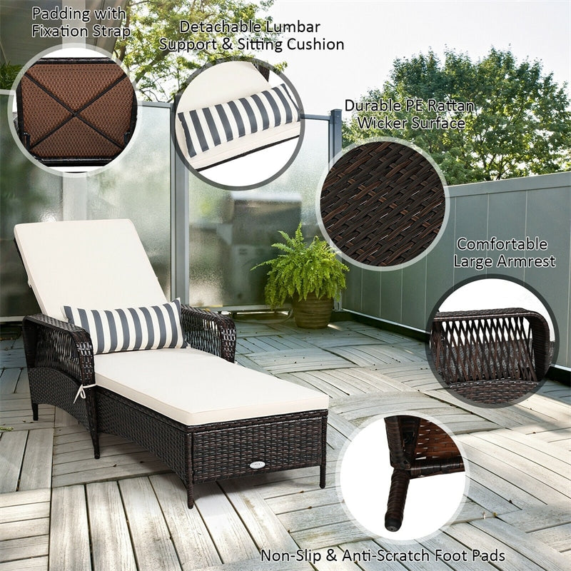 Wicker Rattan Patio Chaise Lounge Recliner Chair with 6-Gear Adjustable Backrest