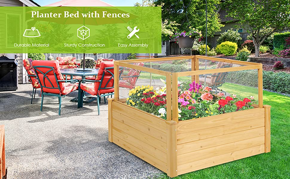 Wooden Raised Garden Bed with 9 Grids and Critter Guard Fence
