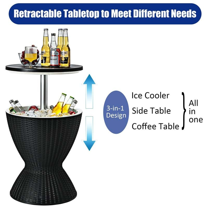 3 in 1 Cool Bar Table, with 8 Gallon Beer and Wine Cooler