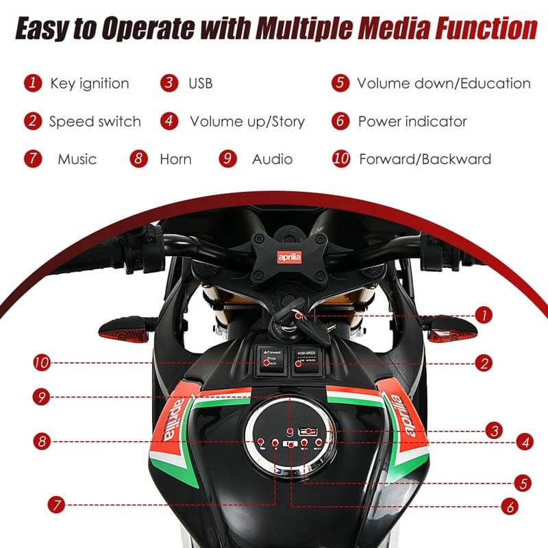 12V Kids Aprilia Licensed Electric Toddler Ride-On Motorbike with Training Wheels