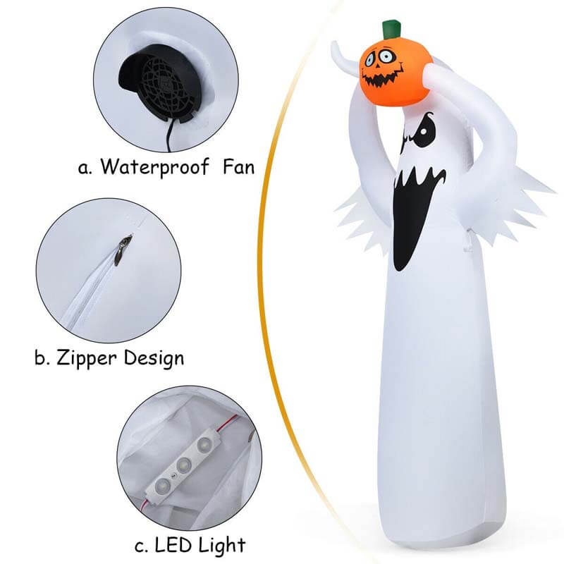 6Ft Halloween Inflatable Blow Up Ghost with Pumpkin and LED Lights
