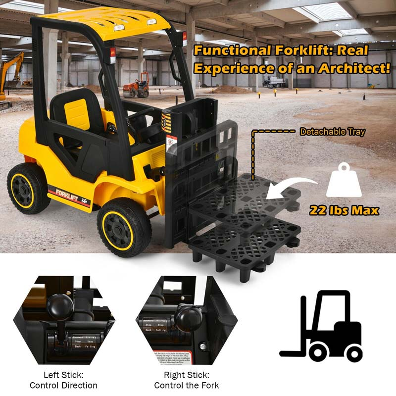 12V Kids Ride On Forklift Electric Construction Vehicle with Remote Control and Back Trunk