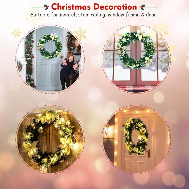 20 Inch Pre-lit Artificial Christmas Wreath with 30 LED Lights
