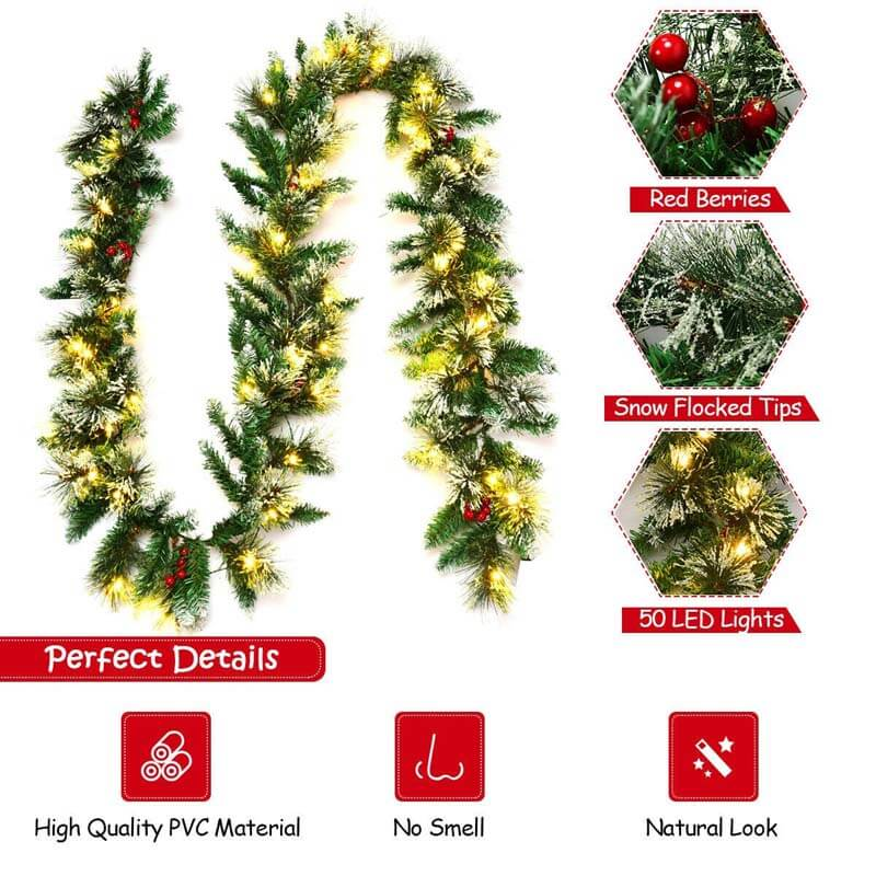 9FT Pre-lit Snow Flocked Tips Christmas Garland with Red Berries 50 Lights