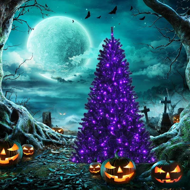 6FT Black Artificial Christmas Halloween Tree with Purple LED Lights