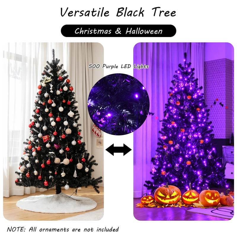 7FT Black Artificial Christmas Halloween Tree with Purple LED Lights