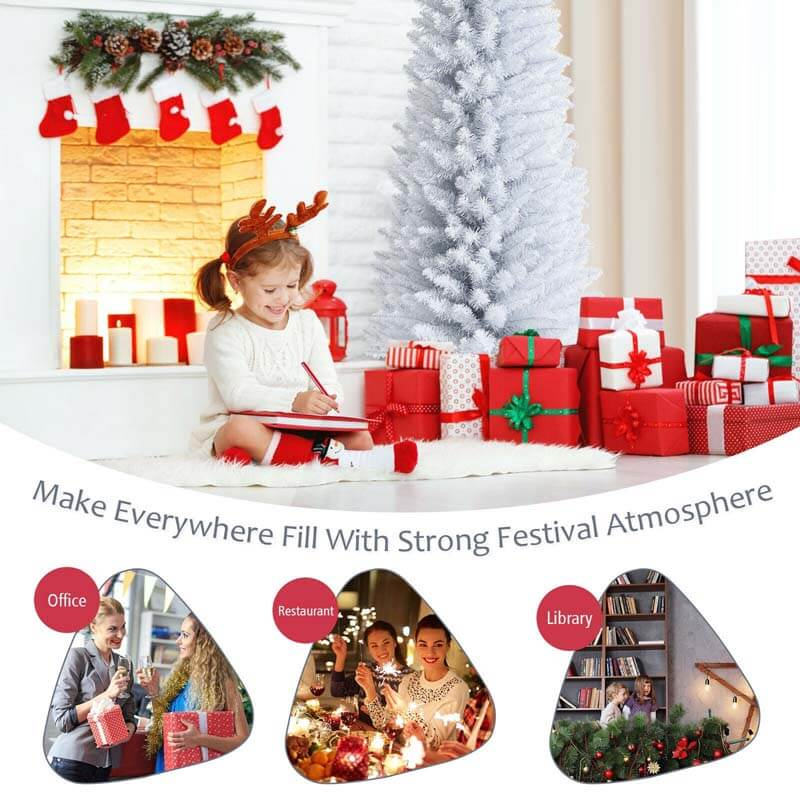 7 Feet Unlit Artificial Slim Christmas Pencil Tree with Metal Stand