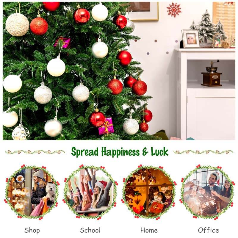 7FT Artificial Christmas Tree with 2 Lighting Colors and 9 Flash Modes