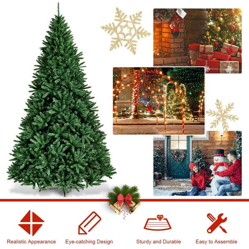 9 Ft Hinged 3594 Branch Tips Artificial Douglas Christmas Tree with Foldable Solid Metal Stand