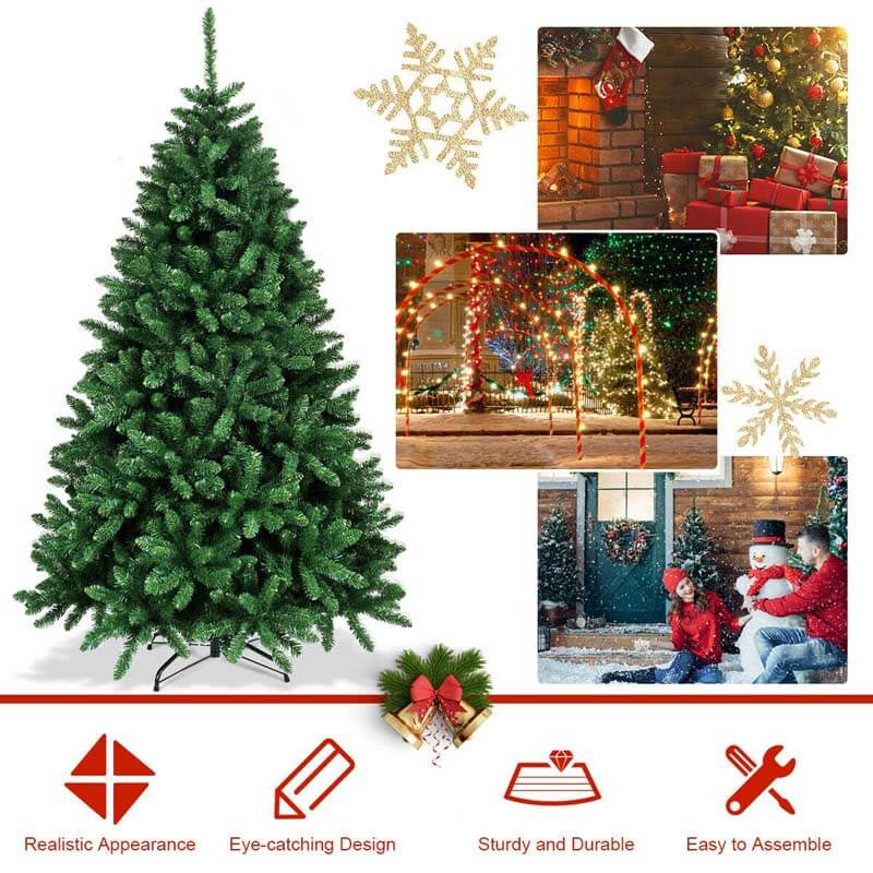 6 Ft Hinged 1355 Branch Tips Artificial Douglas Christmas Tree with Foldable Solid Metal Stand