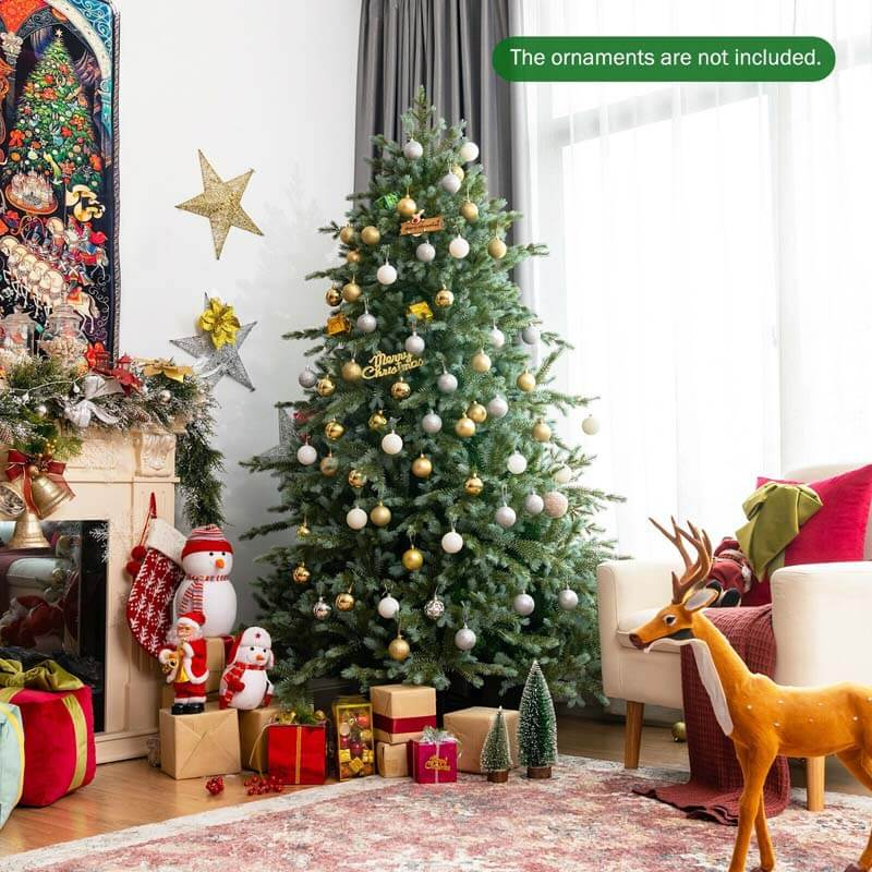 7FT Spruce Hinged Artificial Christmas Tree with 1260 Mixed PE and PVC Tips