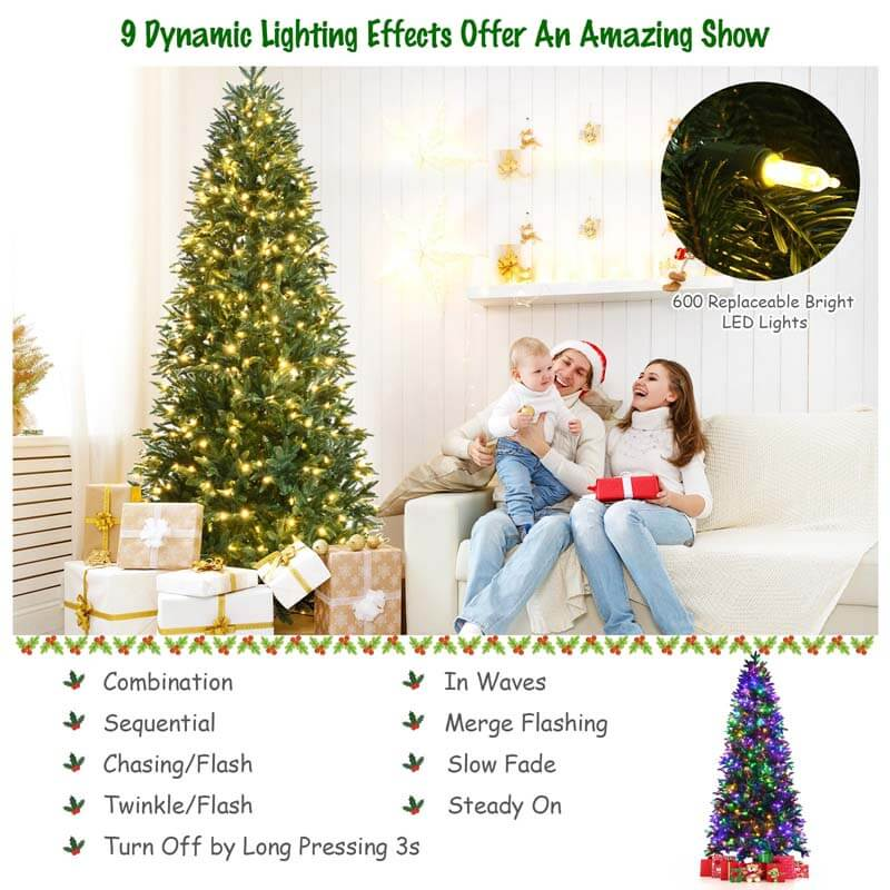 8FT Artificial Christmas Tree with 2 Lighting Colors and 9 Flash Modes