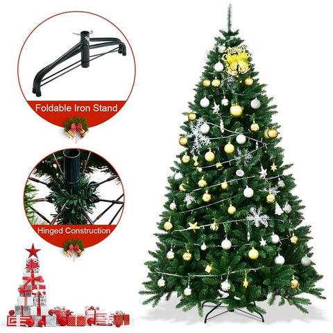 7.5 Ft Hinged 2254 Branch Tips Artificial Douglas Christmas Tree with Foldable Solid Metal Stand