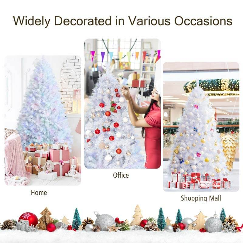 7ft White Iridescent Tinsel ArtificialChristmas Tree with Metal Stand