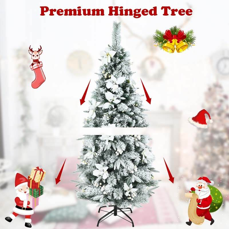 5FT Snow Flocked Christmas Pencil Tree with Berries and Poinsettia Flowers