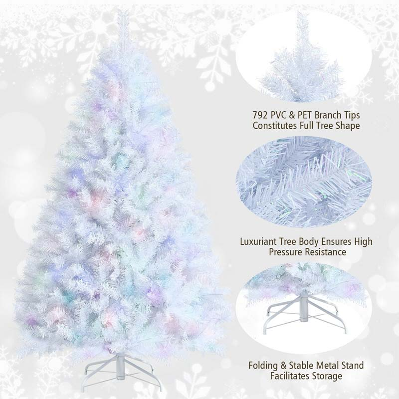6 Feet Iridescent Tinsel Artificial Christmas Tree with 792 Branch Tips