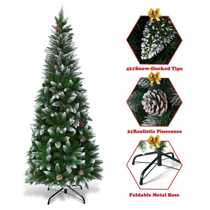 5FT Artificial Snow-flocked Pencil Christmas Tree with Pine Cones