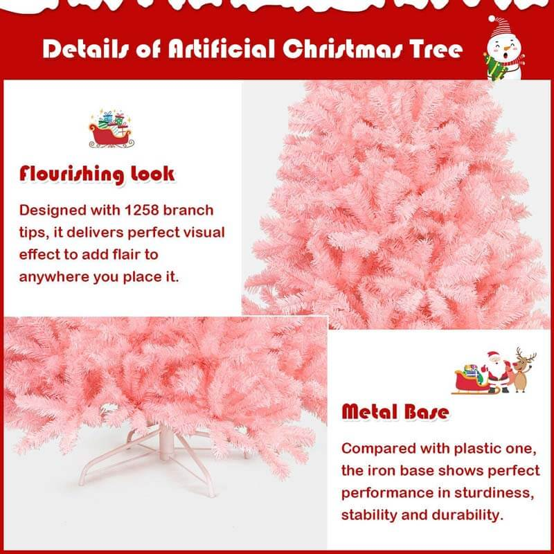 7.5FT Pink Artificial Hinged Spruce Full Christmas Tree with Foldable Metal Stand