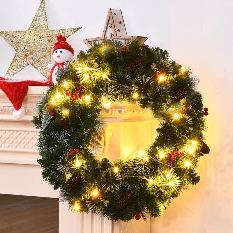 24 Inch Pre-lit Christmas Spruce Wreath with 8 Flash Modes
