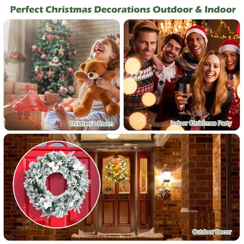 24 Inch Pre-Lit Artificial Christmas Wreath with 50 LED Lights