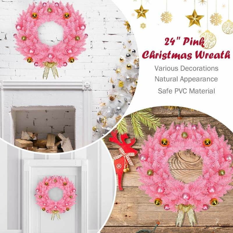 24 Inch Artificial PVC Christmas Wreath with Ornament Balls