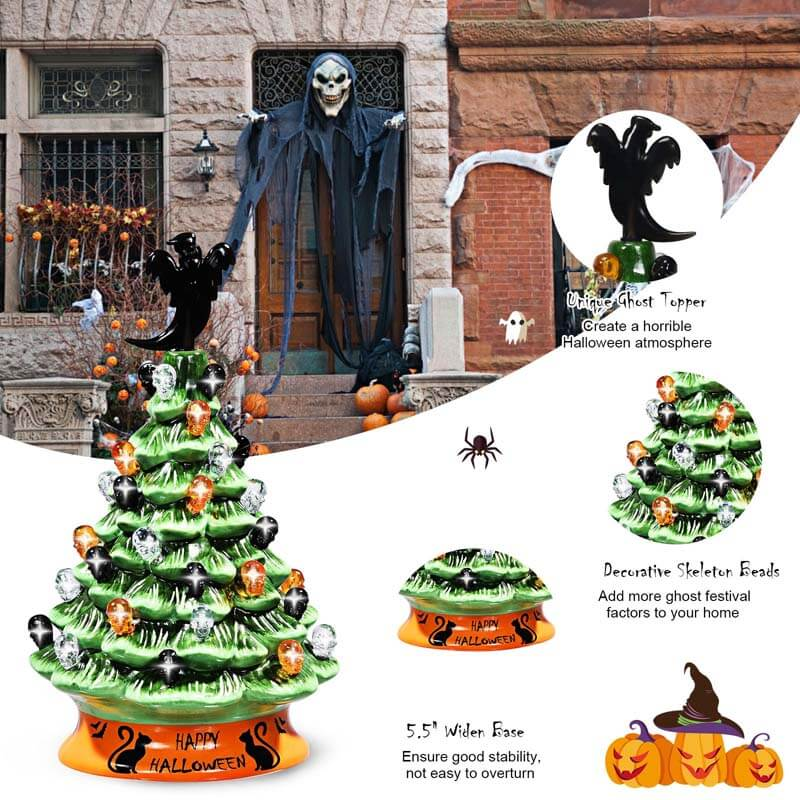 11.5 Inch Hand-Painted Green Tabletop Ceramic Halloween Tree with 12 Built-in Lights