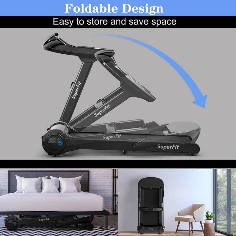 2.25 HP Folding Treadmill Running Cardio Training Machine with LED Touch Display