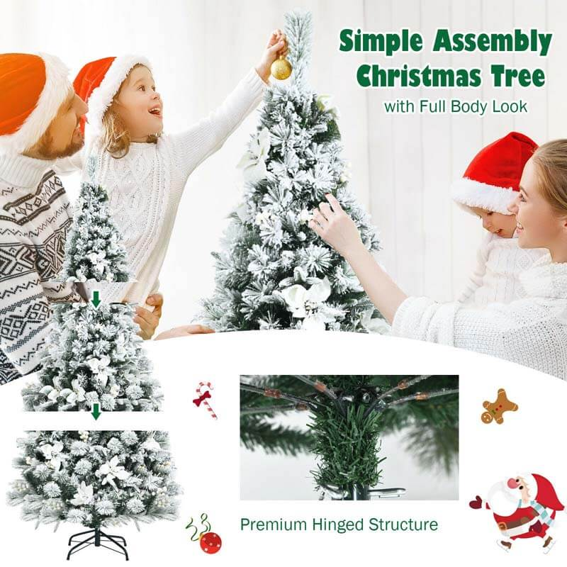 6FT Snow Flocked Hinged Christmas Tree with Berries and Poinsettia Flowers