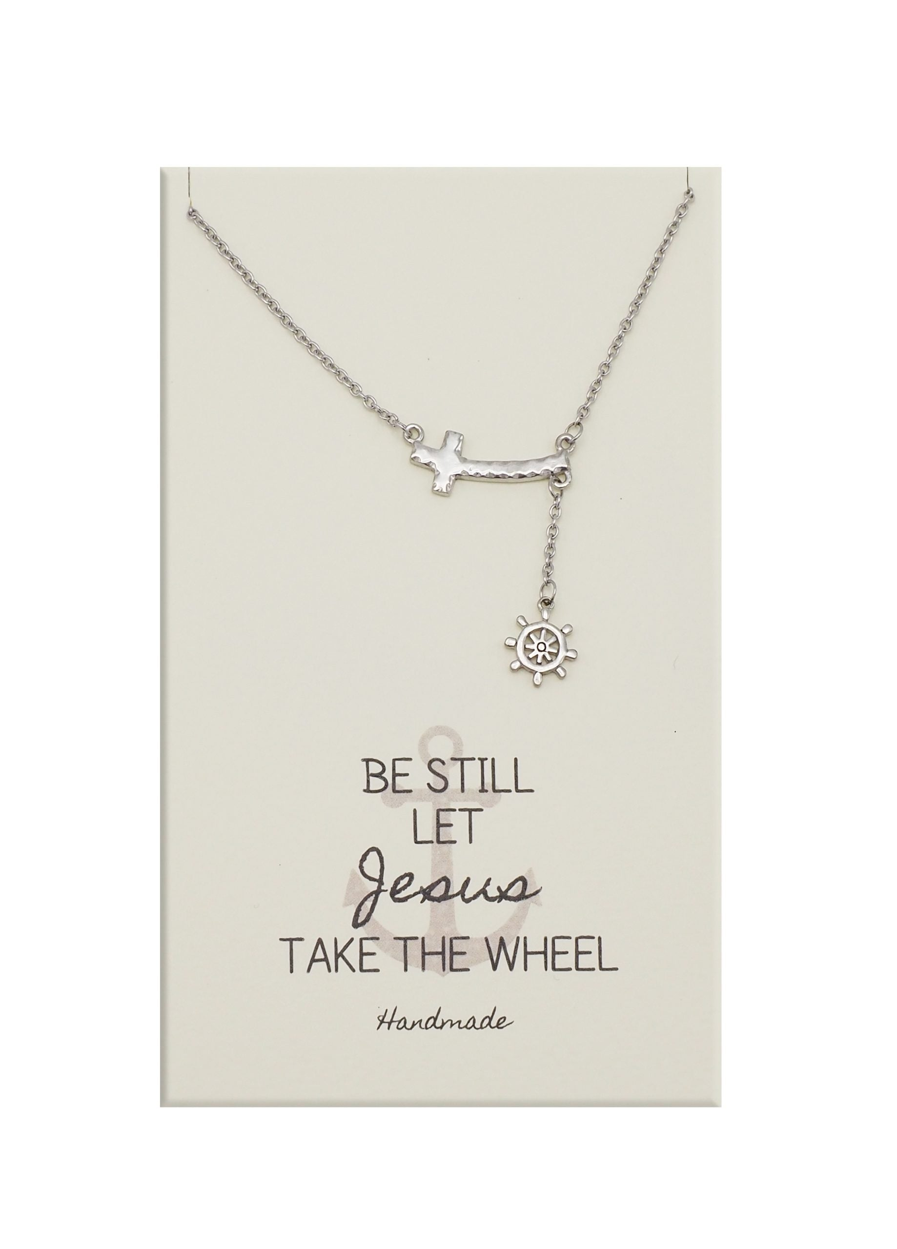 Joyfulle Terah Ship Wheel and Anchor Necklace, Religious Gifts for Women with Inspirational Greeting Card, Adjustable Chain 16