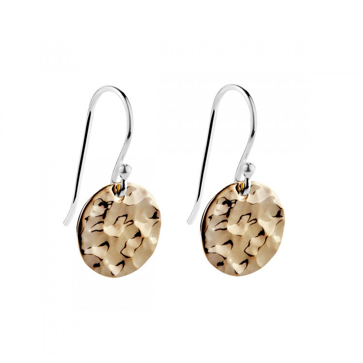 Najo Beaten 14k Gold Plated Disc Earring