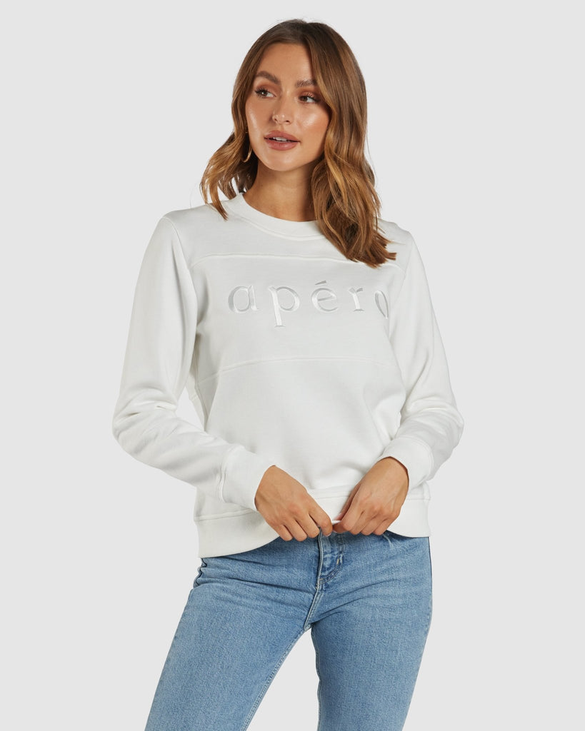 Apero panel embroidered jumper off white - Since I Found You