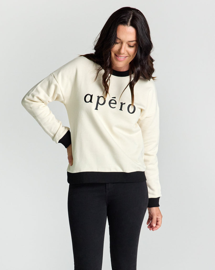 Apero Tiffany Embroidered Jumper Black cream - Since I Found You