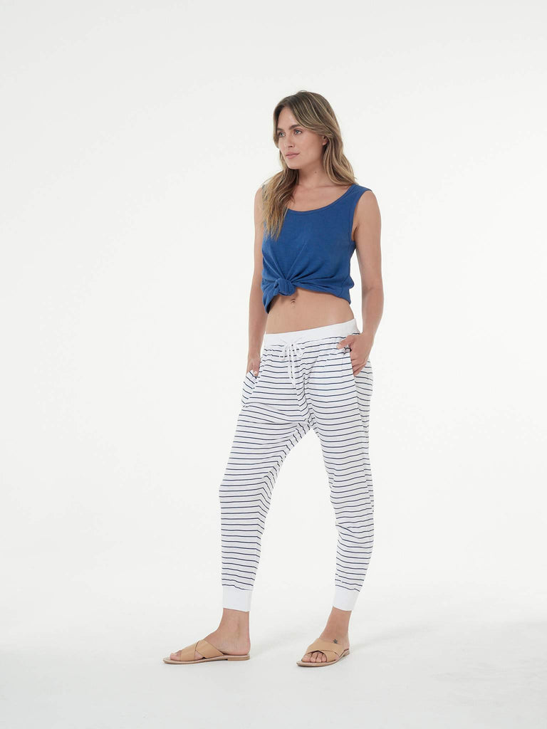 Clé the Label Camila Pant in White/Indigo Stripe - Since I Found You