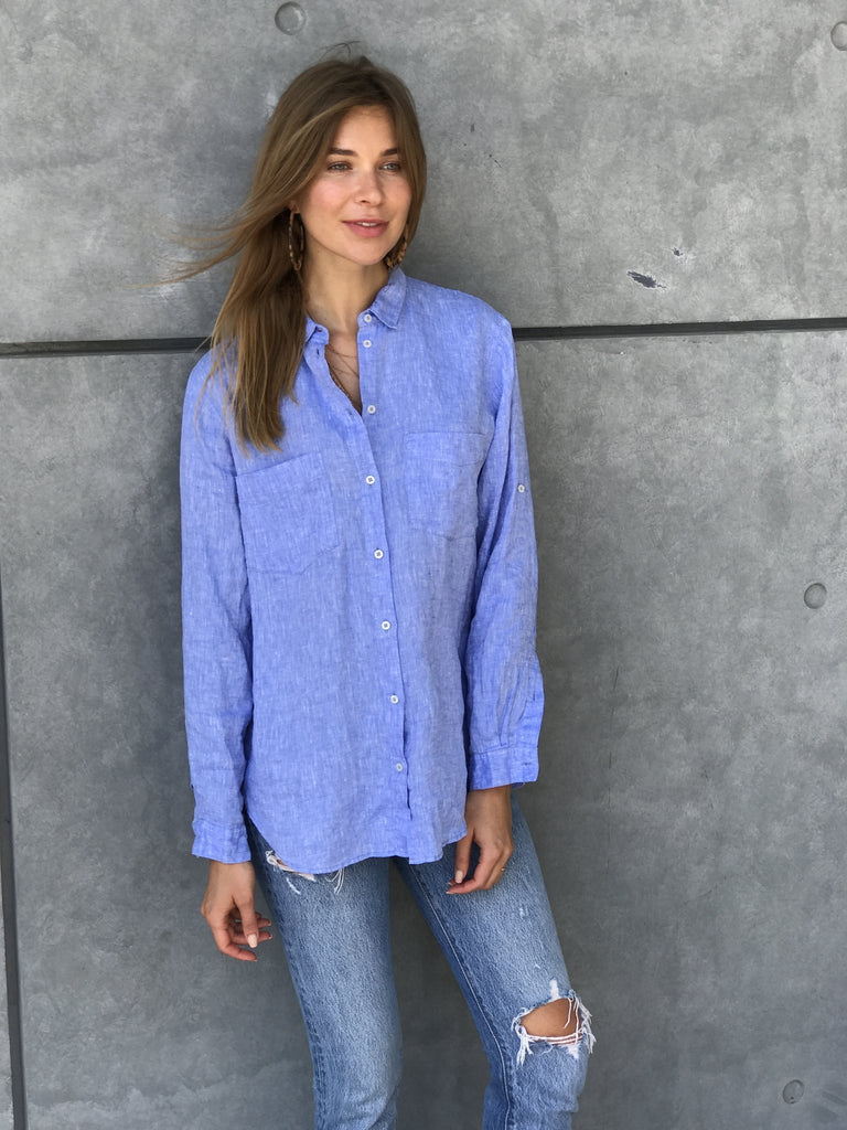 Hut Chambray Linen Boyfriend Shirt - Since I Found You