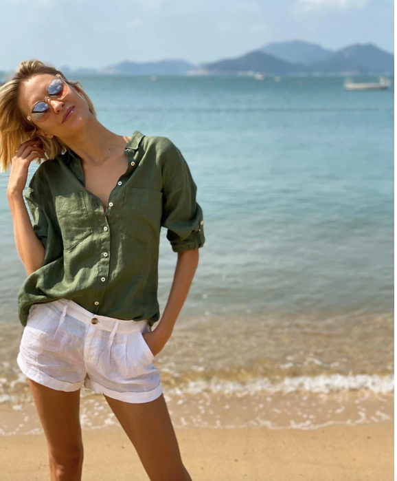 Hut Green Linen Boyfriend Shirt - Since I Found You
