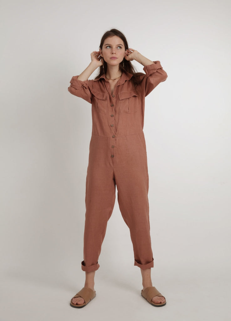 Lilya Sasha Linen Jumpsuit Rust - Since I Found You