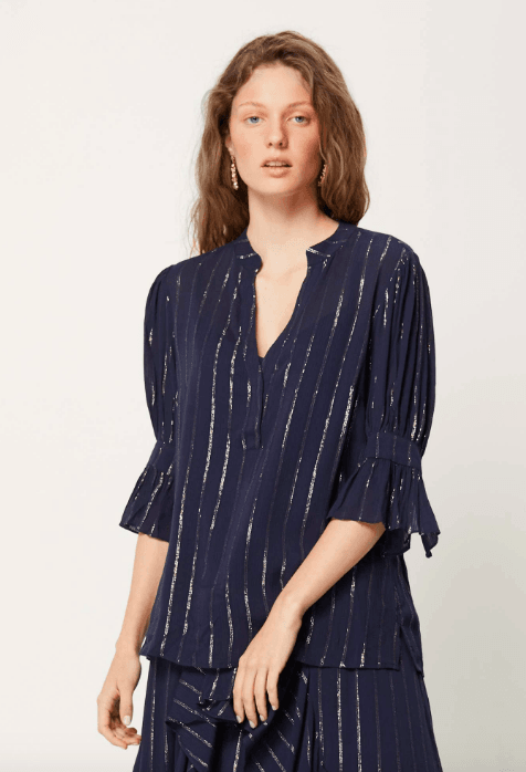 Once Was - Antilles Puff Sleeve Viscose Lurex Stripe Top - Since I Found You