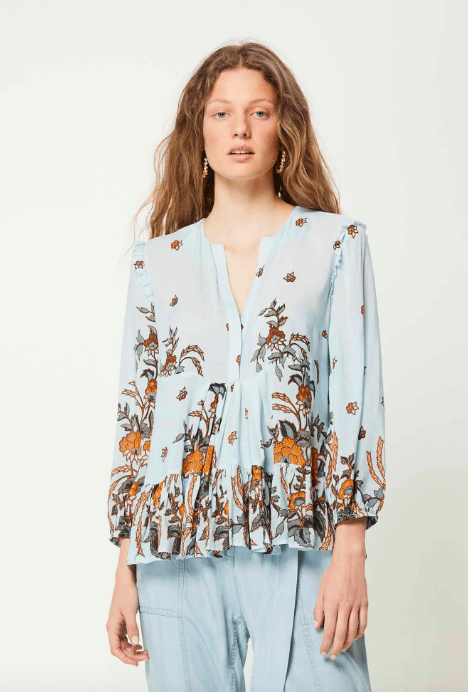 Once Was - Oceanic Placement Print Viscose Voile Tiered Tunic - Since I Found You