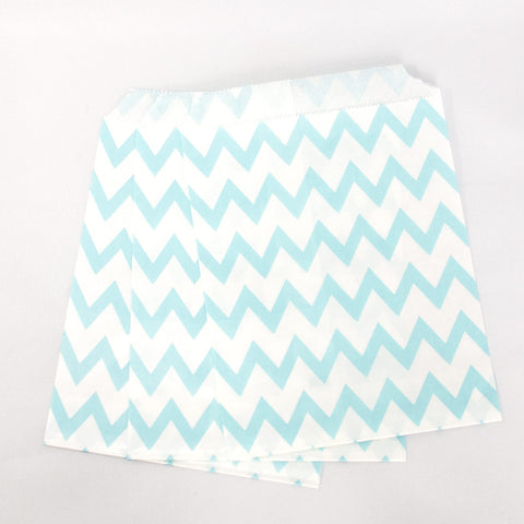 Pale Blue Chevron Paper Bags