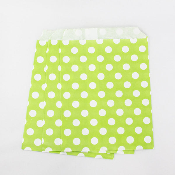 Apple Green Polkadot Paper Bags
