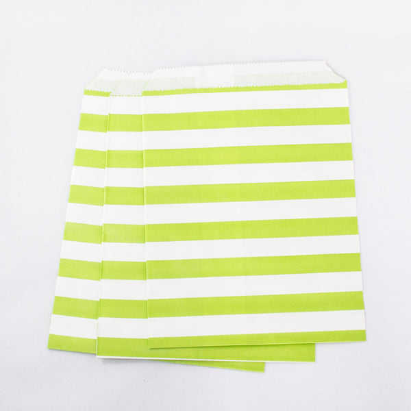 Apple Green Stripe Paper Bags
