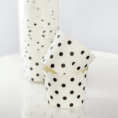 White with Black Polkadot Baking Cups